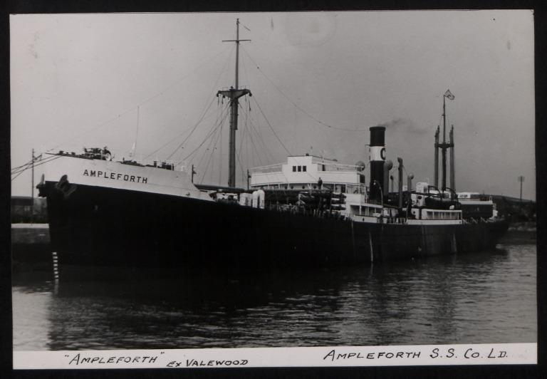 Photograph of Ampleforth (ex Valewood), Ampleforth Steamship Company Ltd card