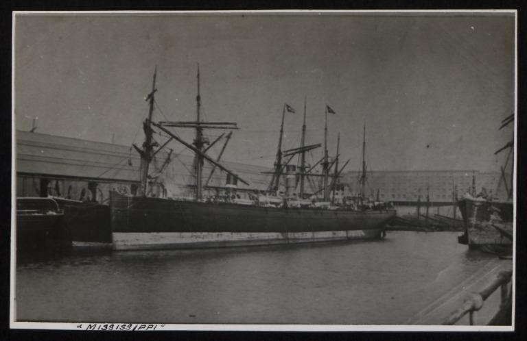 Photograph of Mississippi, Dominion Line card