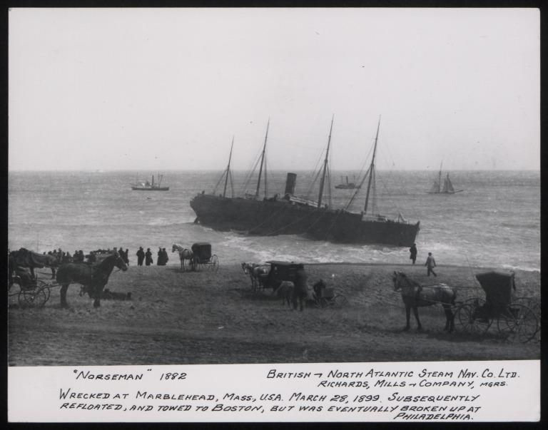 Photograph of Norseman, Dominion Line card