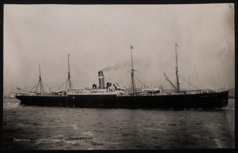 Photograph of Cambroman, Dominion Line card