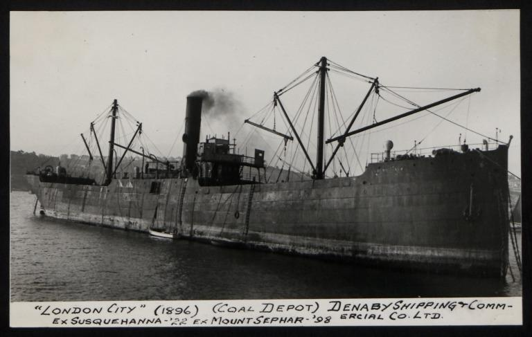 Photograph of London City (ex Susquehanna), Denaby Shipping and Commercial card