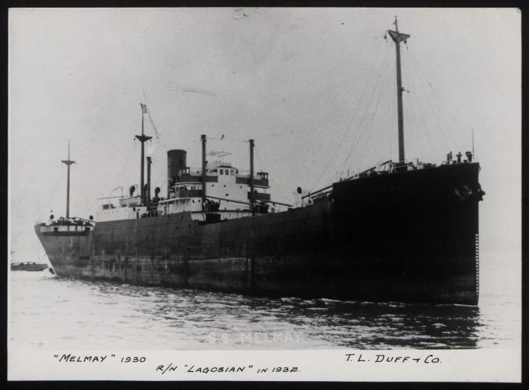 Photograph of Melmay (r/n Lagosian, 1932), T L Duff and Co card