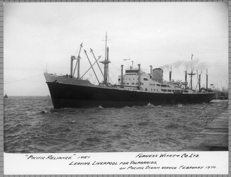 Photograph of Pacific Reliance, Furness Withy and Company card