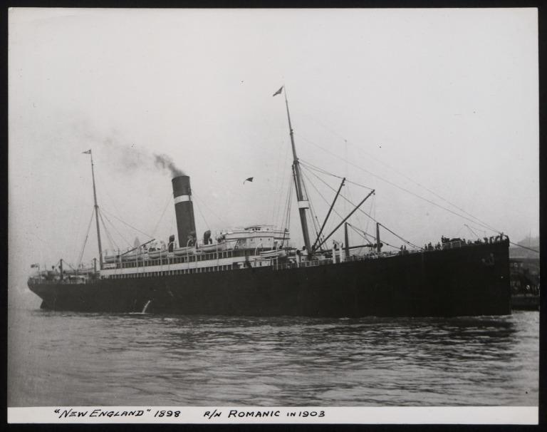 Photograph of New England (r/n Romanic, 1903), Dominion Line card