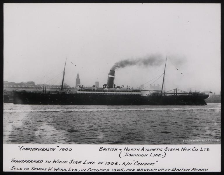 Photograph of Commonwealth (r/n Canopic 1903), Dominion Line card