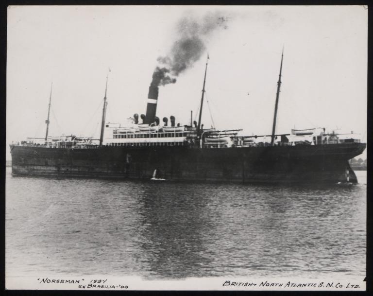 Photograph of Norseman (ex Brasilia), Dominion Line card
