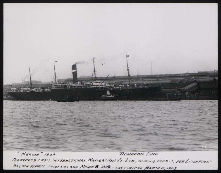 Photograph of Merion, Dominion Line card