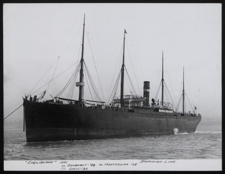 Photograph of Englishman (ex Sandusky, Montezuma and Ionia), Dominion Line card