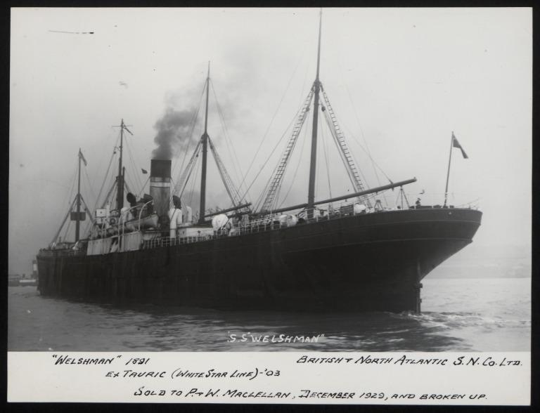 Photograph of Welshman (ex Tauric), Dominion Line card