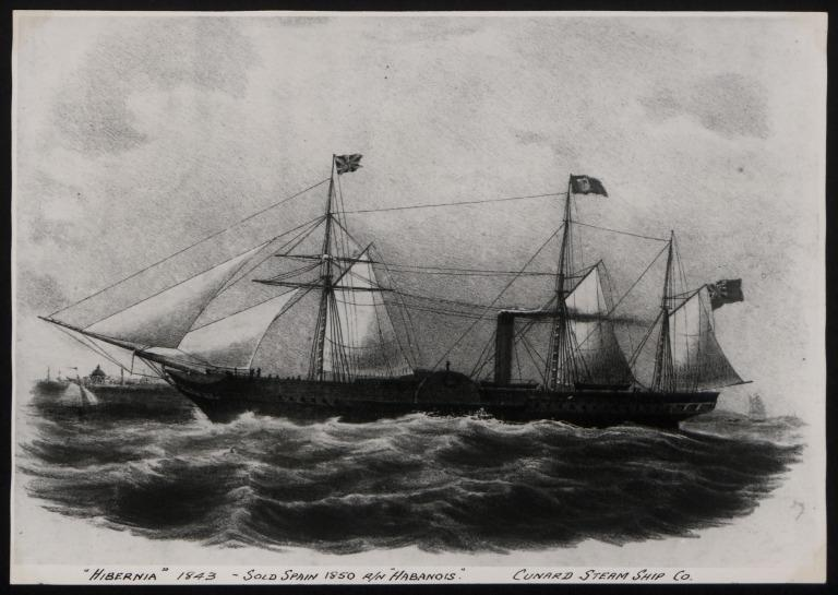 Photograph of Hibernia, Cunard Line card