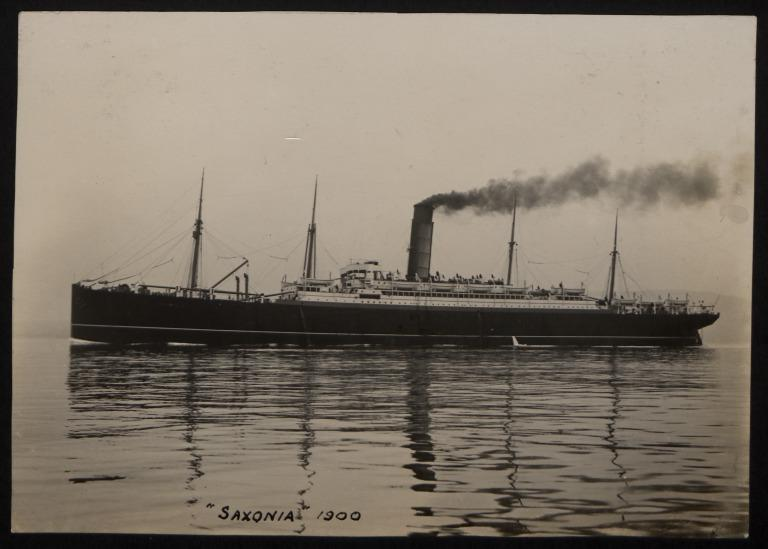 Photograph of Saxonia, Cunard Line card