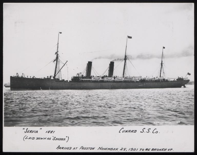 Photograph of Servia, Cunard Line card