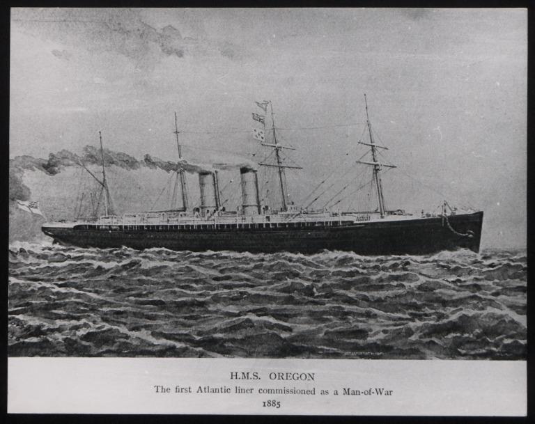 Photograph of Oregon, Cunard Line card