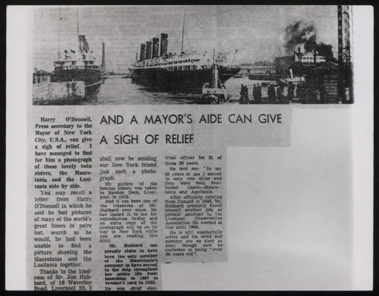 Photograph of Mauretania, Cunard Line card
