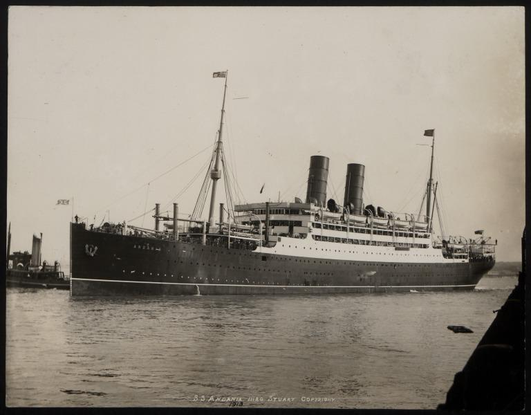 Photograph of Andania I, Cunard Line card