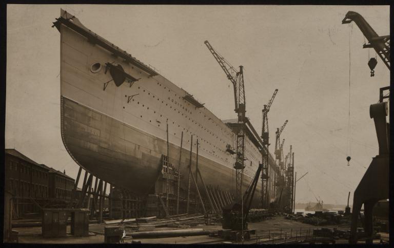 Photograph of Aquitania, Cunard Line card