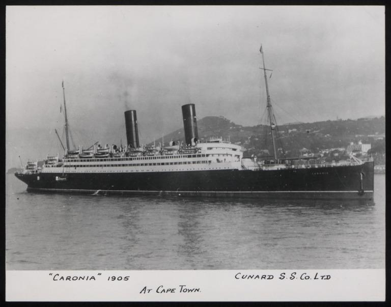 Photograph of Caronia, Cunard Line card