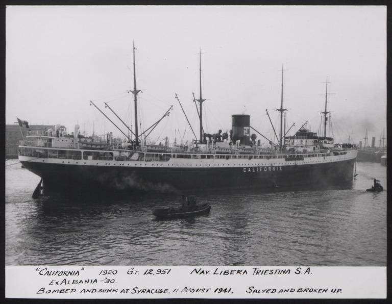 Photograph of California (ex Albania),  Cunard White Star card
