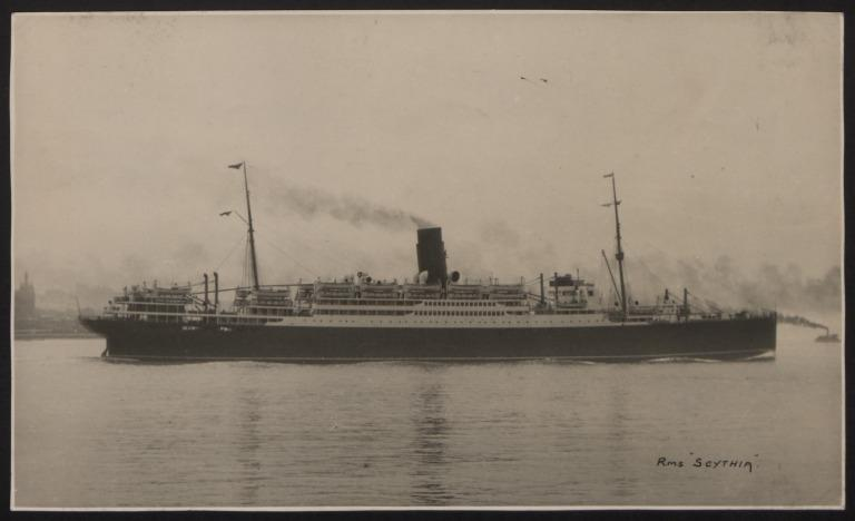 Photograph of Scythia, Cunard White Star Line card