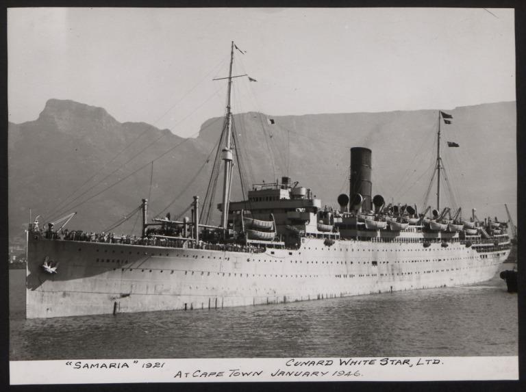 Photograph of Samaria, Cunard White Star Line card