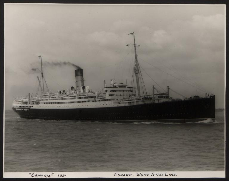 Photograph of Samaria, Cunard White Star Line card