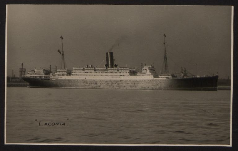 Photograph of Laconia, Cunard White Star Line card