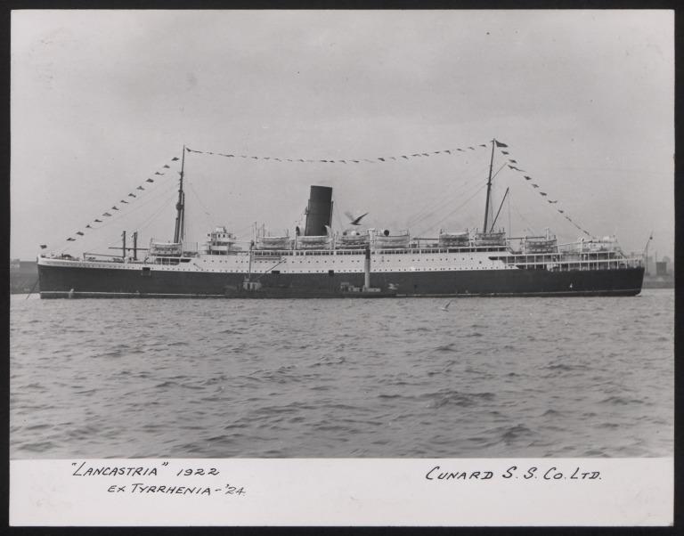 Photograph of Lancastria, Cunard White Star Line card