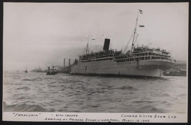 Photograph of Franconia, Cunard White Star Line card