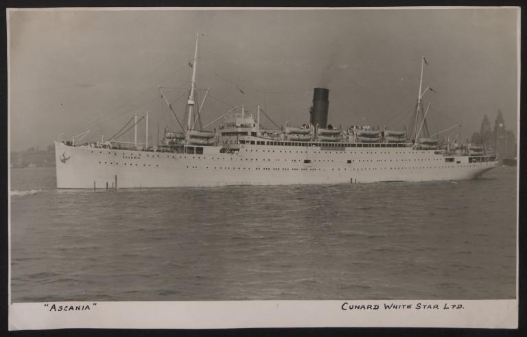 Photograph of Ascania, Cunard White Star Line card