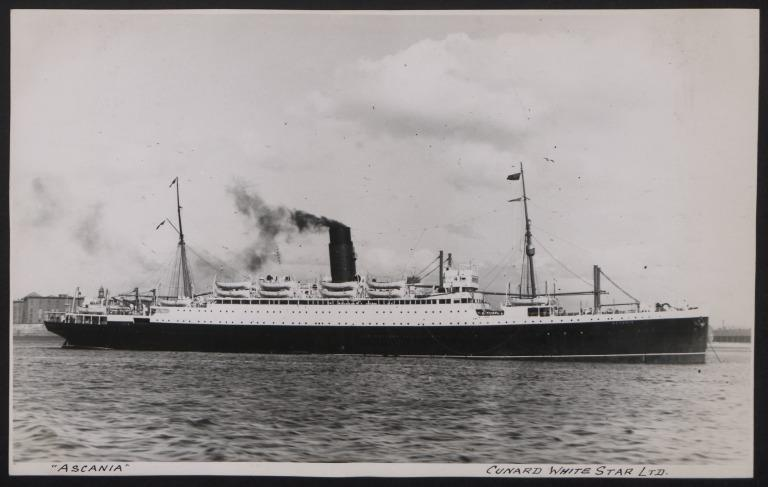 Photograph of Ascania, Cunard White Star Line card