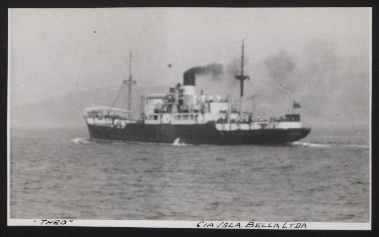 Photograph of Theo (ex Bactria), Cunard White Star Line card