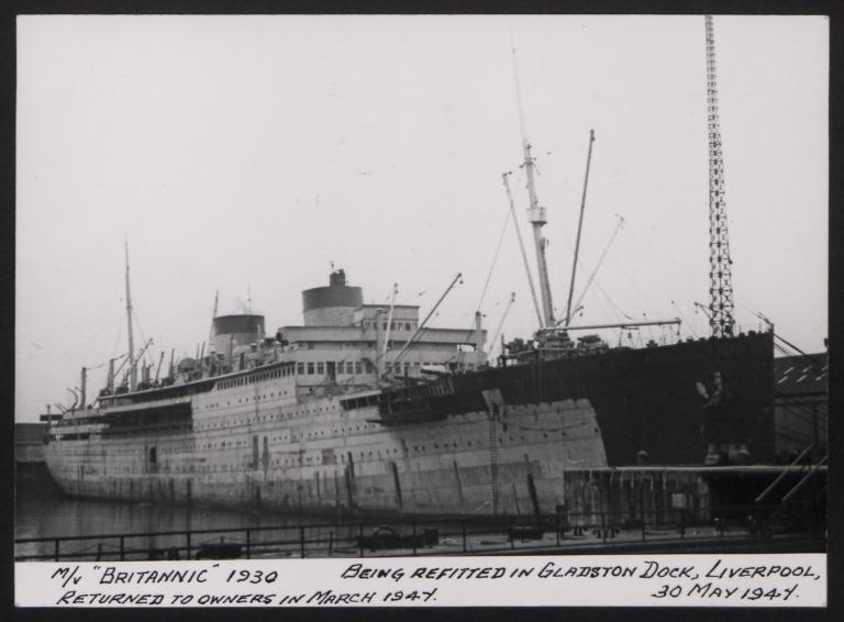 Photograph of Britannic, Cunard White Star Line card