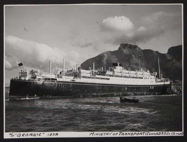 Photograph of Georgic, Cunard White Star Line card