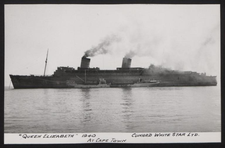 Photograph of Queen Elizabeth, Cunard White Star Line card