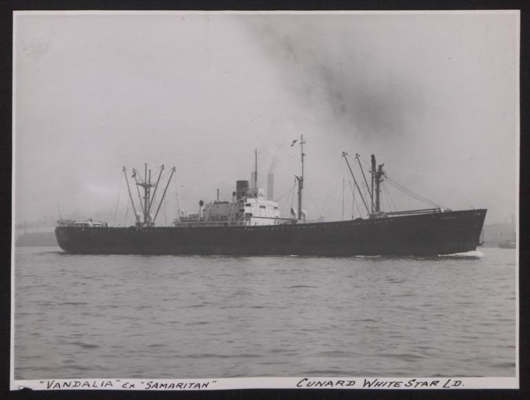 Photograph of Vandalia, Cunard White Star Line card