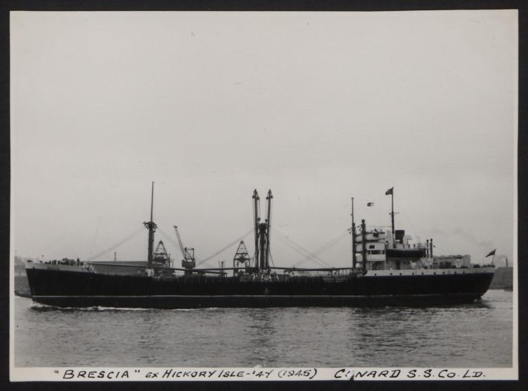 Photograph of Brescia ex Hickory Isle, Cunard White Star Line card