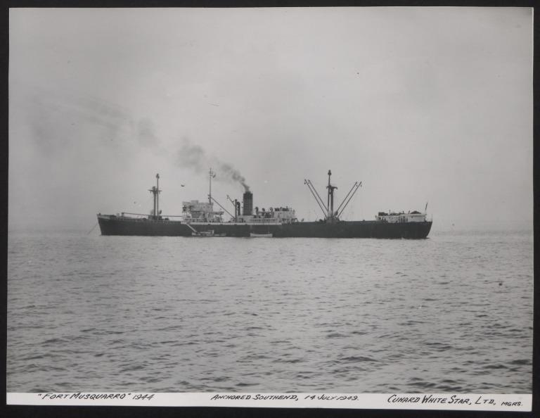 Photograph of Fort Musquarro, Cunard White Star Line card