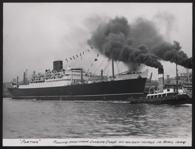 Photograph of Parthia, Cunard White Star Line card