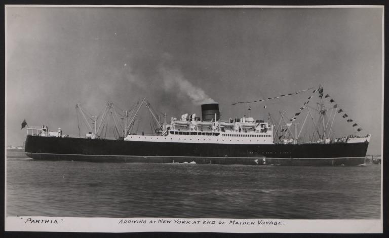 Photograph of Parthia, Cunard White Star Line card