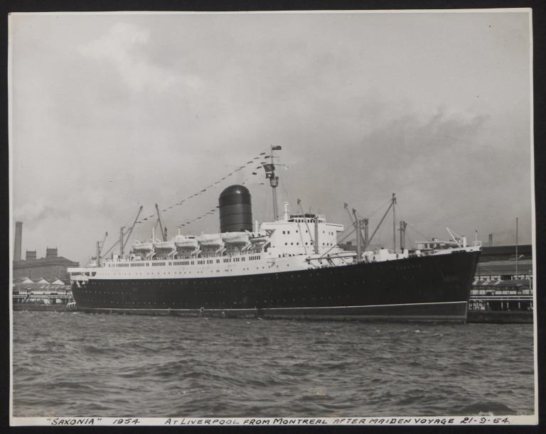 Photograph of Saxonia, Cunard White Star Line card
