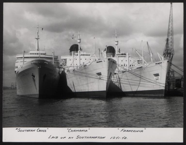 Photograph of Southern Cross, Carmania and Franconia, Cunard White Star Line card