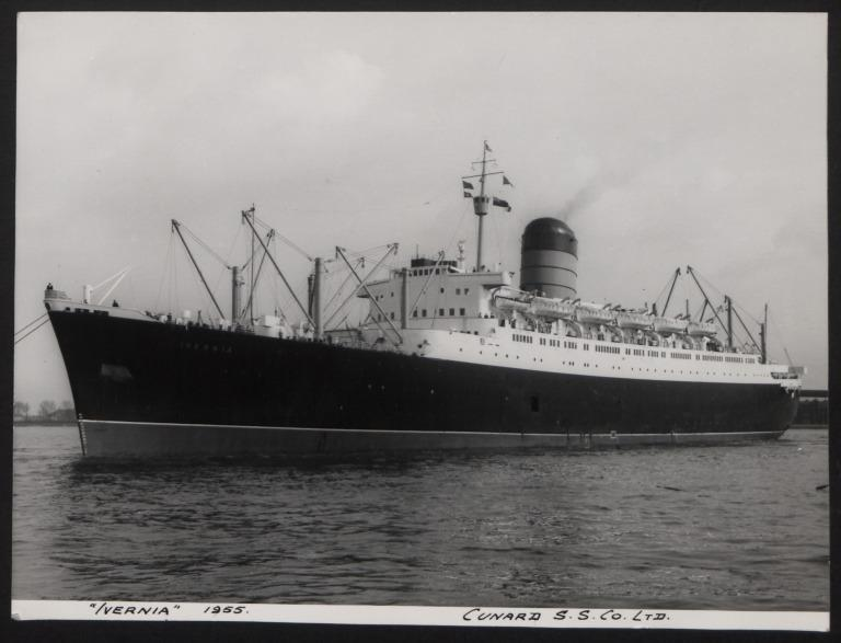 Photograph of Ivernia, Cunard White Star Line card
