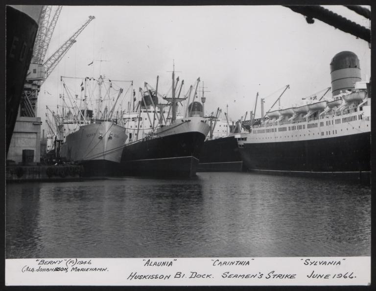 Photograph of Alaunia, Berny, Cariththia, Sylvania, Cunard White Star Line card