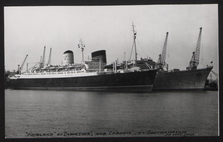 Photograph of Fairland (ex Carinthia) and Caronia, Cunard White Star Line card