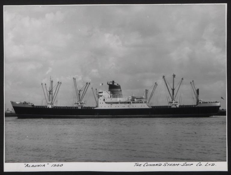 Photograph of Alaunia, Cunard White Star Line card