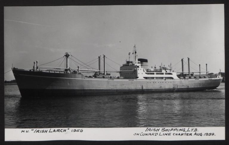 Photograph of Irish Larch, Cunard White Star Line card