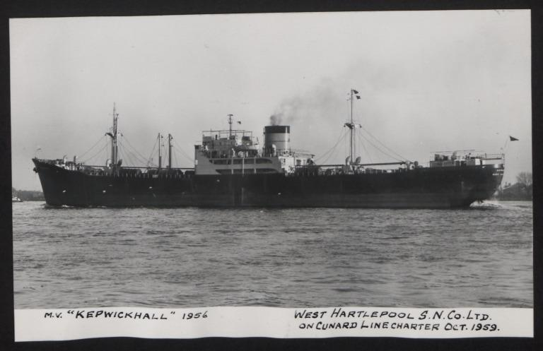 Photograph of Kepwickhall, Cunard White Star Line card