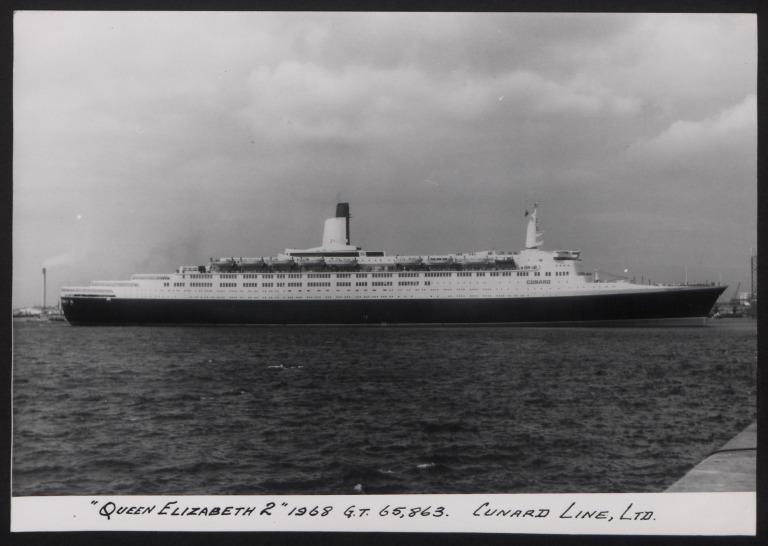 Photograph of Queen Elizabeth II, Cunard White Star Line card