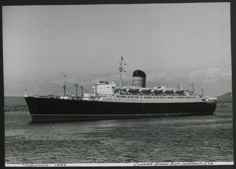 Photograph of Carinthia, Cunard White Star Line card