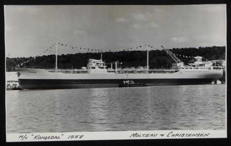 Photograph of Kongsdal (r/n Pelikan), Moltzau and Christensen card